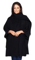 Womens Black Cashmere Wool Cape K1300